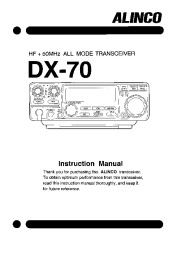 Alinco DX-70 HF 50 FM Radio Instruction Owners Manual page 1