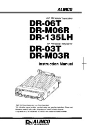 Alinco DR-06T DR-M06R DR-135LH DR-03T DR-M03R VHF UHF FM Radio Owners Manual page 1
