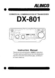 Alinco DX-801 VHF UHF FM Radio Owners Manual page 1